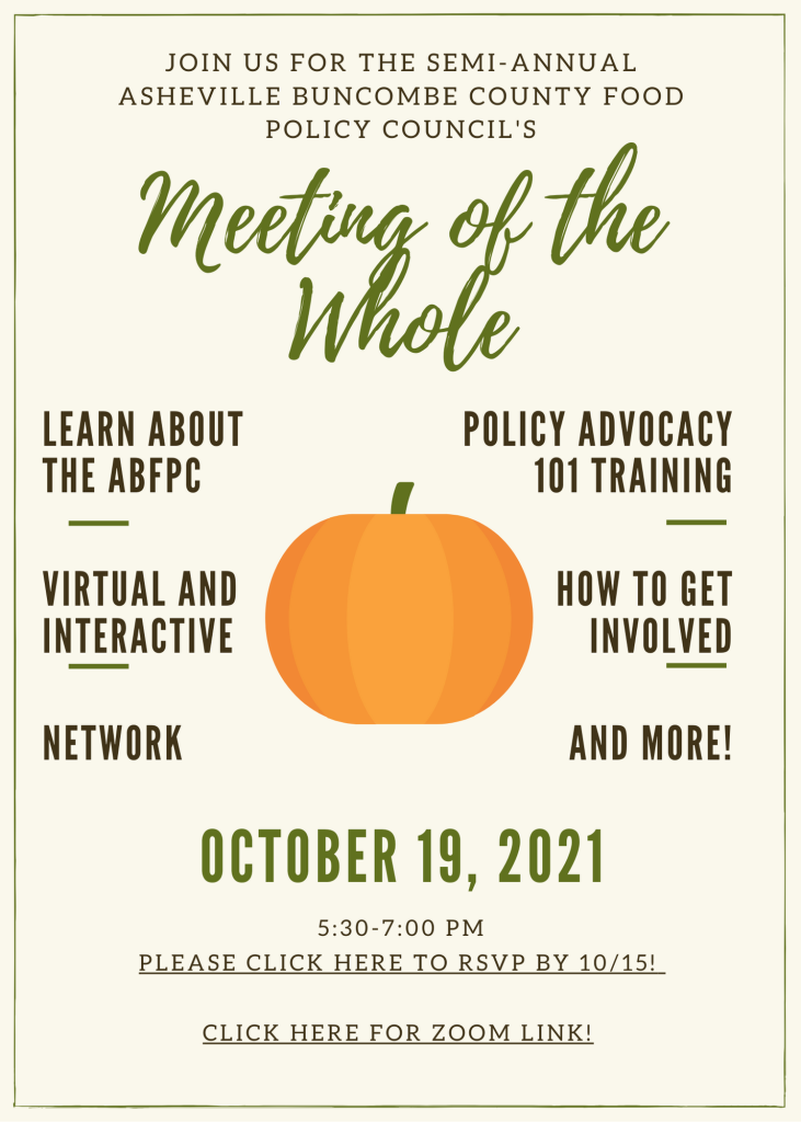 Join us! ABFPC's Fall 2021 Meeting of the Whole!